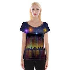 Happy Birthday Independence Day Celebration In New York City Night Fireworks Us Cap Sleeve Tops by Sapixe