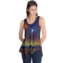 Happy Birthday Independence Day Celebration In New York City Night Fireworks Us Sleeveless Tunic