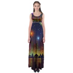 Happy Birthday Independence Day Celebration In New York City Night Fireworks Us Empire Waist Maxi Dress by Sapixe