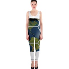 Hexagon Diamond Earth Globe One Piece Catsuit by Sapixe