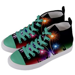 Happy New Year 2017 Celebration Animated 3d Women s Mid-top Canvas Sneakers by Sapixe