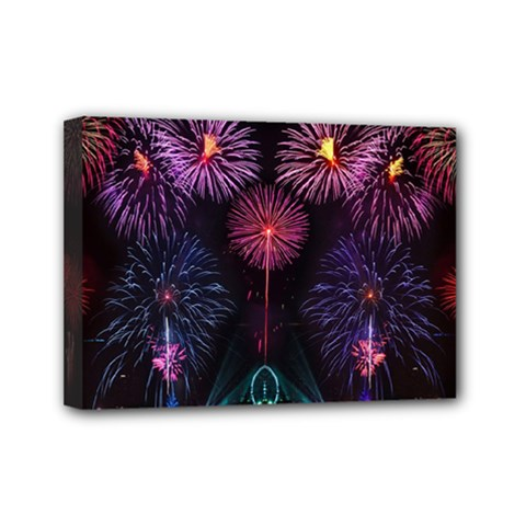 Happy New Year New Years Eve Fireworks In Australia Mini Canvas 7  X 5  by Sapixe