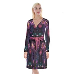 Happy New Year New Years Eve Fireworks In Australia Long Sleeve Velvet Front Wrap Dress by Sapixe