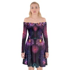 Happy New Year New Years Eve Fireworks In Australia Off Shoulder Skater Dress by Sapixe