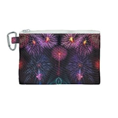 Happy New Year New Years Eve Fireworks In Australia Canvas Cosmetic Bag (medium) by Sapixe