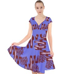 Ikat Sticks Cap Sleeve Front Wrap Midi Dress