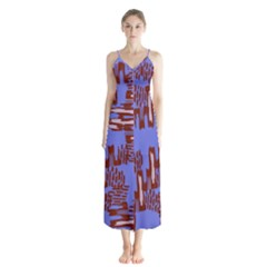 Ikat Sticks Button Up Chiffon Maxi Dress