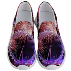 Happy New Year Clock Time Fireworks Pictures Men s Lightweight Slip Ons