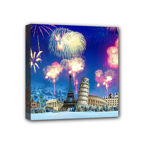Happy New Year Celebration Of The New Year Landmarks Of The Most Famous Cities Around The World Fire Mini Canvas 4  X 4  by Sapixe