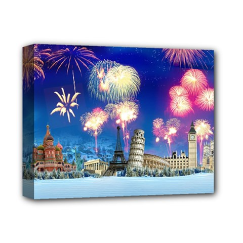 Happy New Year Celebration Of The New Year Landmarks Of The Most Famous Cities Around The World Fire Deluxe Canvas 14  X 11  by Sapixe