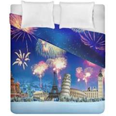 Happy New Year Celebration Of The New Year Landmarks Of The Most Famous Cities Around The World Fire Duvet Cover Double Side (california King Size)