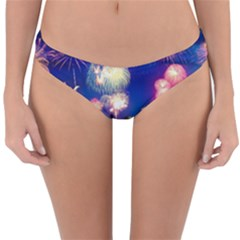 Happy New Year Celebration Of The New Year Landmarks Of The Most Famous Cities Around The World Fire Reversible Hipster Bikini Bottoms