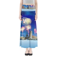 Happy New Year Celebration Of The New Year Landmarks Of The Most Famous Cities Around The World Fire Full Length Maxi Skirt by Sapixe