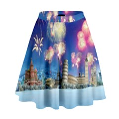Happy New Year Celebration Of The New Year Landmarks Of The Most Famous Cities Around The World Fire High Waist Skirt