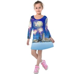 Happy New Year Celebration Of The New Year Landmarks Of The Most Famous Cities Around The World Fire Kids  Long Sleeve Velvet Dress by Sapixe