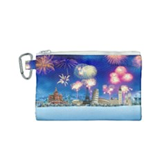 Happy New Year Celebration Of The New Year Landmarks Of The Most Famous Cities Around The World Fire Canvas Cosmetic Bag (small) by Sapixe
