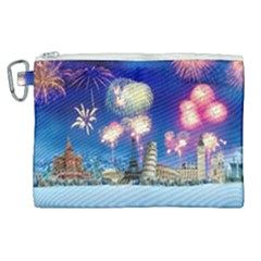 Happy New Year Celebration Of The New Year Landmarks Of The Most Famous Cities Around The World Fire Canvas Cosmetic Bag (xl)