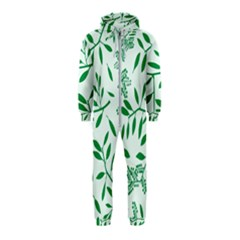 Leaves Foliage Green Wallpaper Hooded Jumpsuit (kids) by Sapixe
