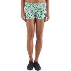 Leaves Foliage Green Wallpaper Yoga Shorts
