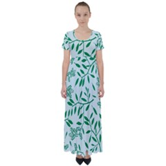 Leaves Foliage Green Wallpaper High Waist Short Sleeve Maxi Dress by Sapixe