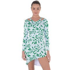 Leaves Foliage Green Wallpaper Asymmetric Cut Out Shift Dress by Sapixe