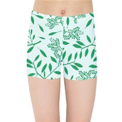 Leaves Foliage Green Wallpaper Kids Sports Shorts