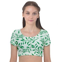Leaves Foliage Green Wallpaper Velvet Short Sleeve Crop Top  by Sapixe