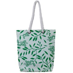 Leaves Foliage Green Wallpaper Full Print Rope Handle Tote (small)