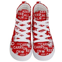 Keep Calm And Carry On Kid s Hi Top Skate Sneakers