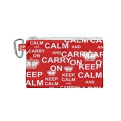 Keep Calm And Carry On Canvas Cosmetic Bag (small) by Sapixe