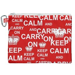 Keep Calm And Carry On Canvas Cosmetic Bag (xxl) by Sapixe