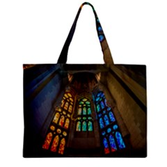 Leopard Barcelona Stained Glass Colorful Glass Zipper Mini Tote Bag by Sapixe