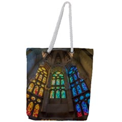 Leopard Barcelona Stained Glass Colorful Glass Full Print Rope Handle Tote (large) by Sapixe