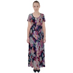 Japanese Ethnic Pattern High Waist Short Sleeve Maxi Dress