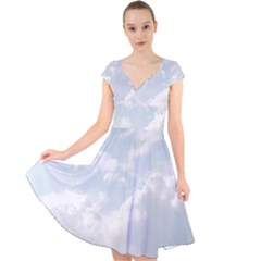 Light Nature Sky Sunny Clouds Cap Sleeve Front Wrap Midi Dress