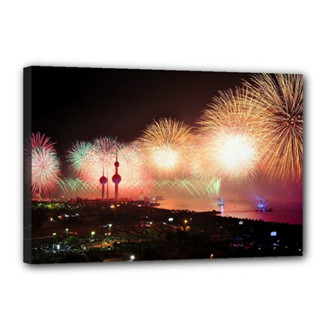Kuwait Liberation Day National Day Fireworks Canvas 18  X 12  by Sapixe