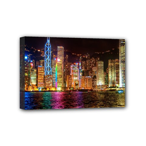 Light Water Cityscapes Night Multicolor Hong Kong Nightlights Mini Canvas 6  X 4  by Sapixe