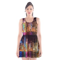 Light Water Cityscapes Night Multicolor Hong Kong Nightlights Scoop Neck Skater Dress by Sapixe