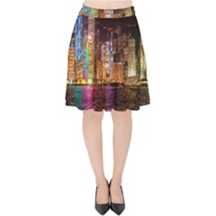 Light Water Cityscapes Night Multicolor Hong Kong Nightlights Velvet High Waist Skirt