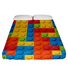 Lego Bricks Pattern Fitted Sheet (queen Size) by Sapixe