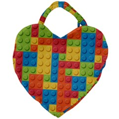 Lego Bricks Pattern Giant Heart Shaped Tote by Sapixe