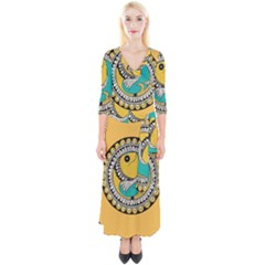 Madhubani Fish Indian Ethnic Pattern Quarter Sleeve Wrap Maxi Dress