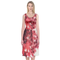 Maple Leaves Red Autumn Fall Midi Sleeveless Dress