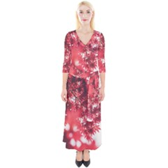 Maple Leaves Red Autumn Fall Quarter Sleeve Wrap Maxi Dress