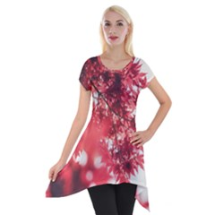 Maple Leaves Red Autumn Fall Short Sleeve Side Drop Tunic