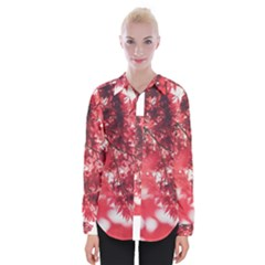 Maple Leaves Red Autumn Fall Womens Long Sleeve Shirt