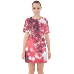 Maple Leaves Red Autumn Fall Sixties Short Sleeve Mini Dress