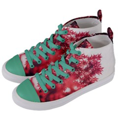 Maple Leaves Red Autumn Fall Women s Mid Top Canvas Sneakers by Sapixe