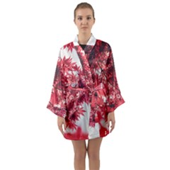 Maple Leaves Red Autumn Fall Long Sleeve Kimono Robe