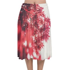 Maple Leaves Red Autumn Fall Velvet Flared Midi Skirt